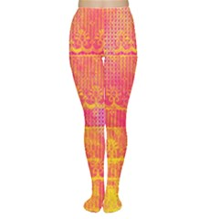 Yello And Magenta Lace Texture Women s Tights