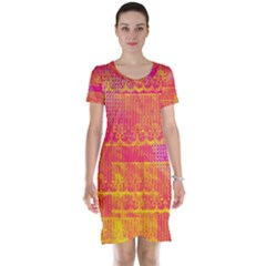 Yello And Magenta Lace Texture Short Sleeve Nightdress