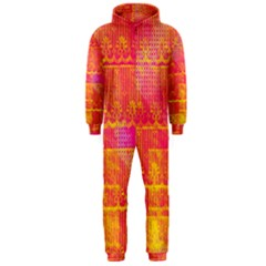Yello And Magenta Lace Texture Hooded Jumpsuit (men)