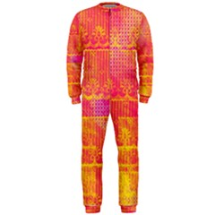 Yello And Magenta Lace Texture Onepiece Jumpsuit (men)