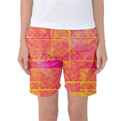Yello And Magenta Lace Texture Women s Basketball Shorts