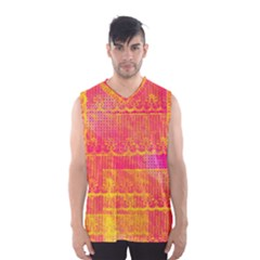 Yello And Magenta Lace Texture Men s Basketball Tank Top
