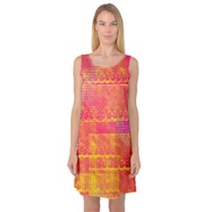 Yello And Magenta Lace Texture Sleeveless Satin Nightdress