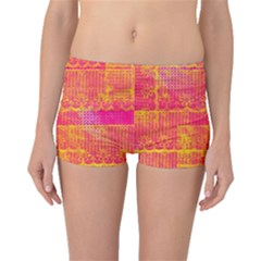 Yello And Magenta Lace Texture Boyleg Bikini Bottoms