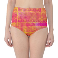 Yello And Magenta Lace Texture High Waist Bikini Bottoms