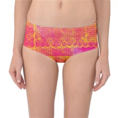 Yello And Magenta Lace Texture Mid Waist Bikini Bottoms