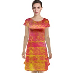 Yello And Magenta Lace Texture Cap Sleeve Nightdress