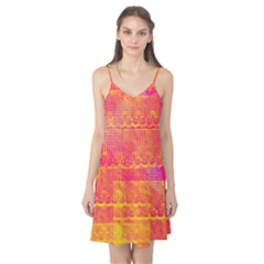 Yello And Magenta Lace Texture Camis Nightgown