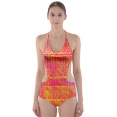 Yello And Magenta Lace Texture Cut Out One Piece Swimsuit