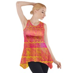 Yello And Magenta Lace Texture Side Drop Tank Tunic