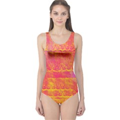 Yello And Magenta Lace Texture One Piece Swimsuit