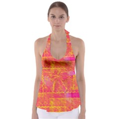Yello And Magenta Lace Texture Babydoll Tankini Top