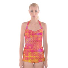 Yello And Magenta Lace Texture Boyleg Halter Swimsuit