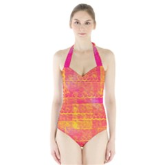 Yello And Magenta Lace Texture Halter Swimsuit