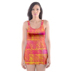 Yello And Magenta Lace Texture Skater Dress Swimsuit