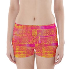 Yello And Magenta Lace Texture Boyleg Bikini Wrap Bottoms