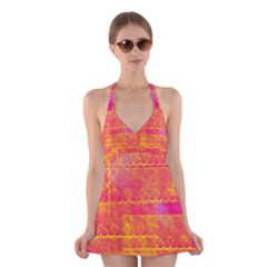 Yello And Magenta Lace Texture Halter Swimsuit Dress