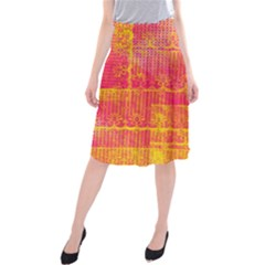 Yello And Magenta Lace Texture Midi Beach Skirt
