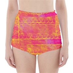 Yello And Magenta Lace Texture High Waisted Bikini Bottoms