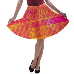 Yello And Magenta Lace Texture A Line Skater Skirt