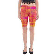 Yello And Magenta Lace Texture Yoga Cropped Leggings