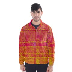 Yello And Magenta Lace Texture Wind Breaker (men)