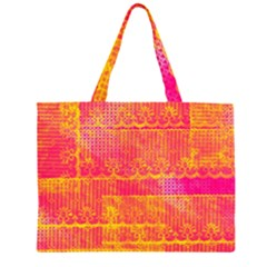 Yello And Magenta Lace Texture Zipper Large Tote Bag