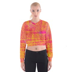 Yello And Magenta Lace Texture Women s Cropped Sweatshirt