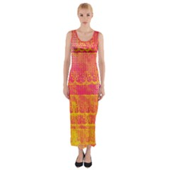 Yello And Magenta Lace Texture Fitted Maxi Dress