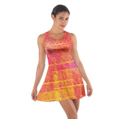 Yello And Magenta Lace Texture Cotton Racerback Dress