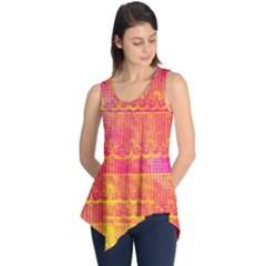 Yello And Magenta Lace Texture Sleeveless Tunic