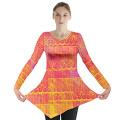Yello And Magenta Lace Texture Long Sleeve Tunic