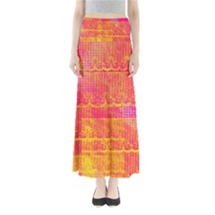 Yello And Magenta Lace Texture Maxi Skirts