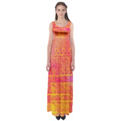 Yello And Magenta Lace Texture Empire Waist Maxi Dress