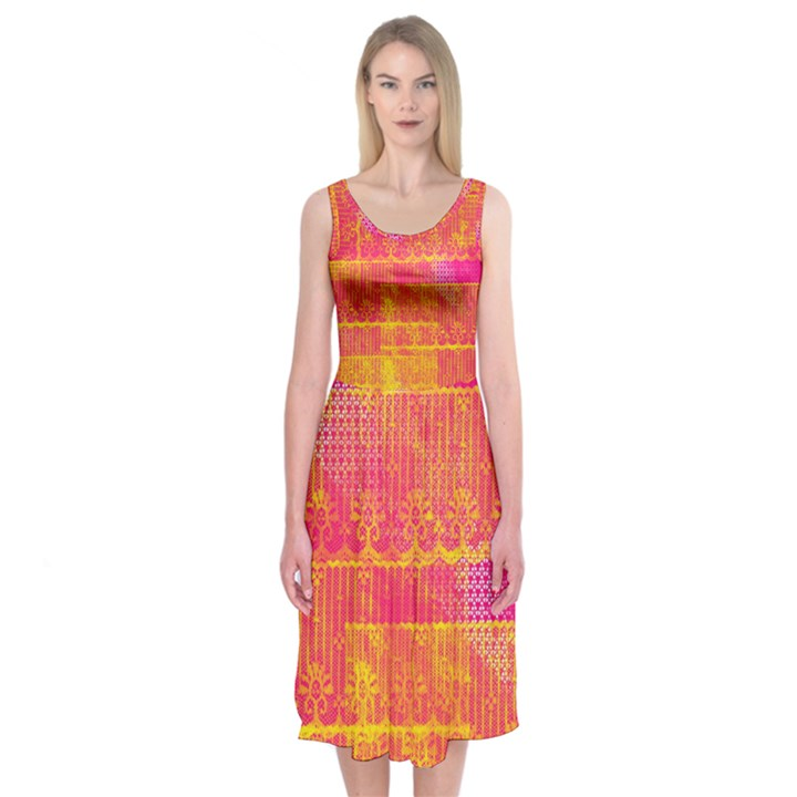 Yello And Magenta Lace Texture Midi Sleeveless Dress