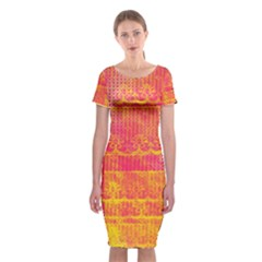 Yello And Magenta Lace Texture Classic Short Sleeve Midi Dress