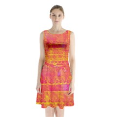 Yello And Magenta Lace Texture Sleeveless Chiffon Waist Tie Dress