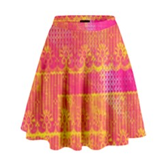 Yello And Magenta Lace Texture High Waist Skirt