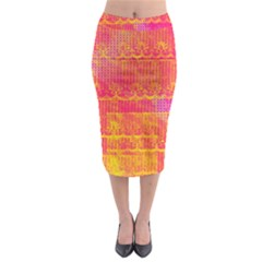 Yello And Magenta Lace Texture Midi Pencil Skirt