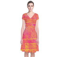 Yello And Magenta Lace Texture Short Sleeve Front Wrap Dress