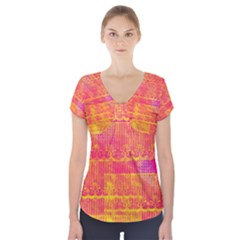 Yello And Magenta Lace Texture Short Sleeve Front Detail Top