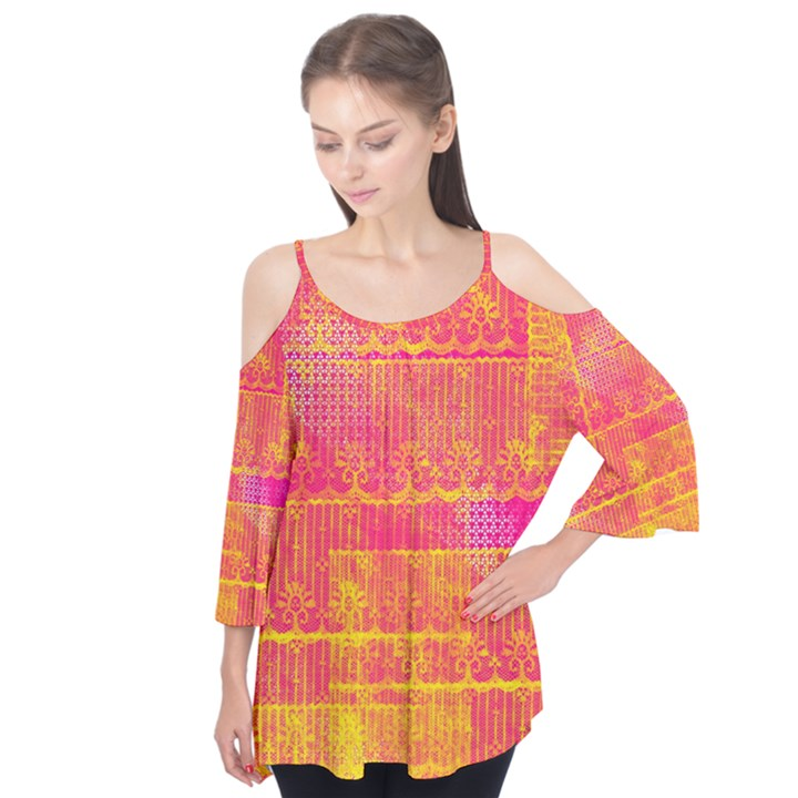 Yello And Magenta Lace Texture Flutter Tees