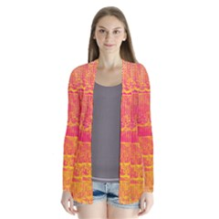 Yello And Magenta Lace Texture Drape Collar Cardigan