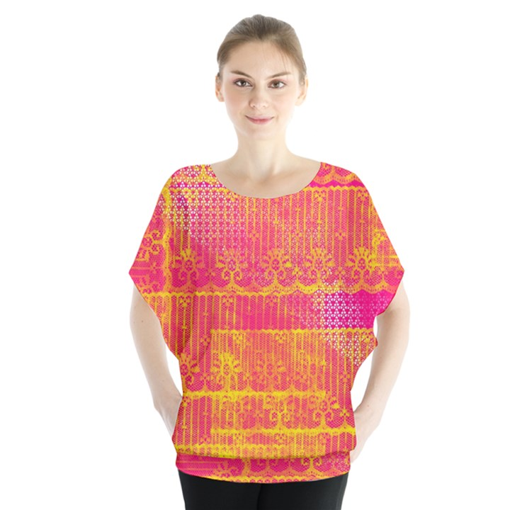 Yello And Magenta Lace Texture Blouse