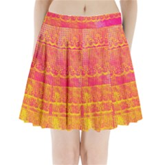 Yello And Magenta Lace Texture Pleated Mini Skirt