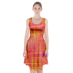 Yello And Magenta Lace Texture Racerback Midi Dress