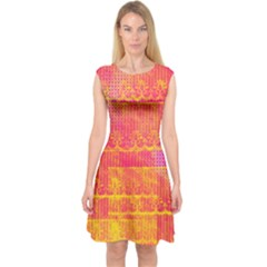 Yello And Magenta Lace Texture Capsleeve Midi Dress