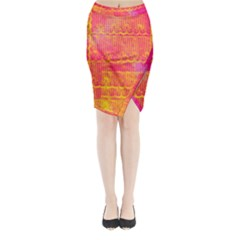 Yello And Magenta Lace Texture Midi Wrap Pencil Skirt