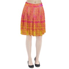Yello And Magenta Lace Texture Pleated Skirt