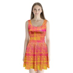 Yello And Magenta Lace Texture Split Back Mini Dress